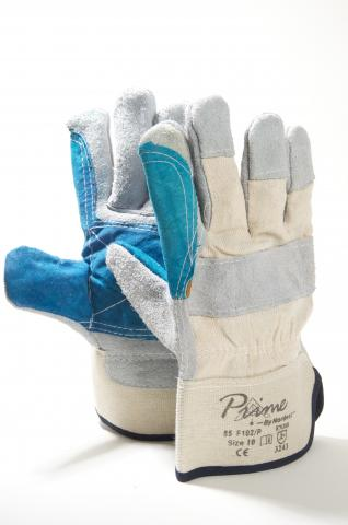 LEATHER-COTTON GLOVES WITH GREEN REINFORCEMENT